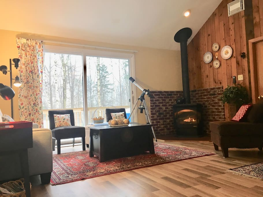 Living Room with Gas Fireplace and Telescope
