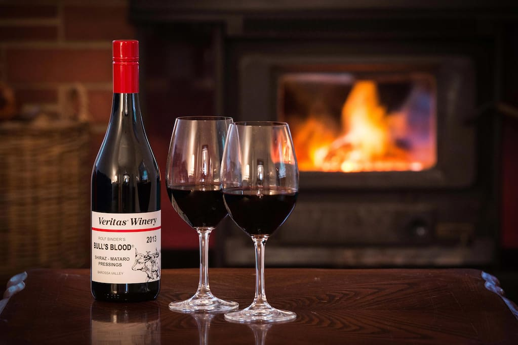Relax and enjoy a nice glass of wine in front of the cosy wood fire in the cooler months. Guests receive a complimentary bottle of Rolf Binder wine & discount on wine purchased at Rolf Binder cellar door!