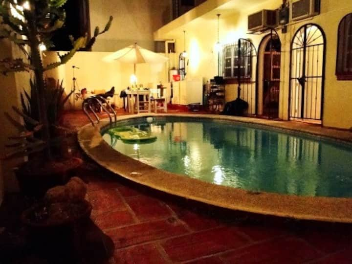Close to beach with private pool.