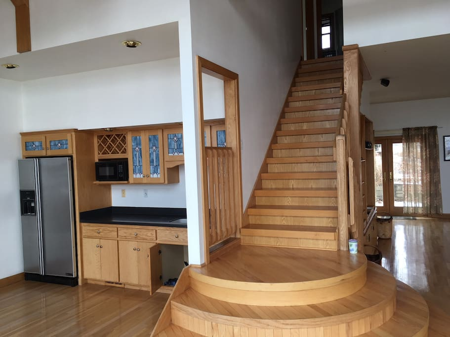 Kitchenette, staircase to bedrooms