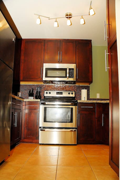 Lots of storage and quality cooking utensils and appliances, making it the perfect home away from home!