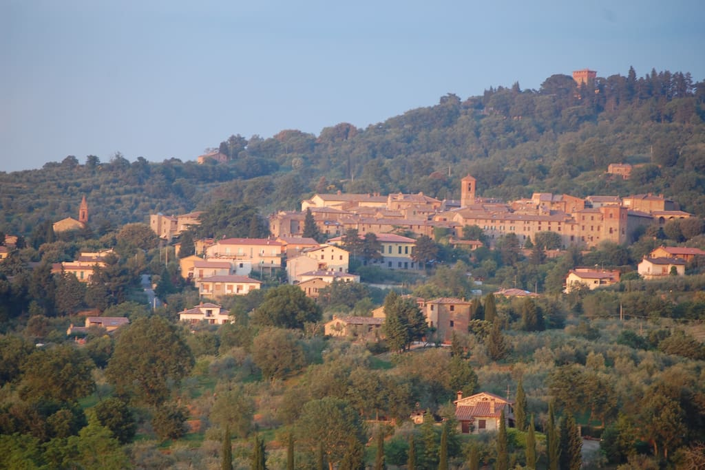 Village of Paciano seen across the valley from La Follia