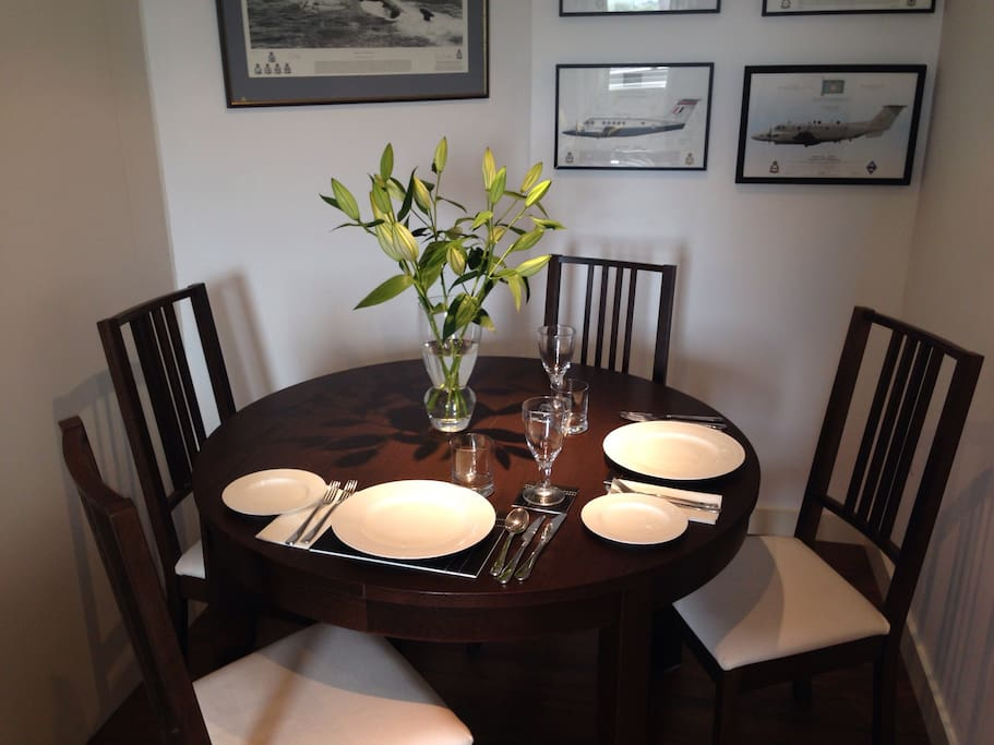 A dining area that will comfortably seat 4 for a meal in a charming intimate setting. What could be better than home cooking without all the noise of a restaurant! All cutlery and plates etc are available for your use.