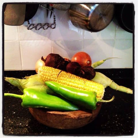 Homegrown vegetables from the schoolgarden of our son