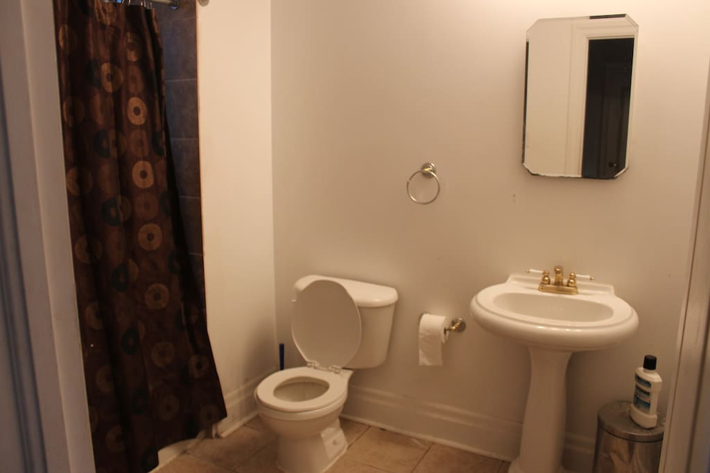 One of two full washrooms