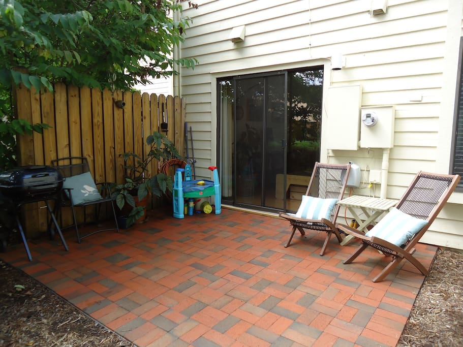 Patio with a charcoal grill