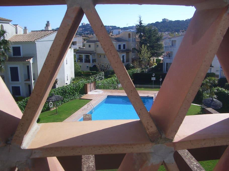 Vistas desde la terraza. piscina y jardin