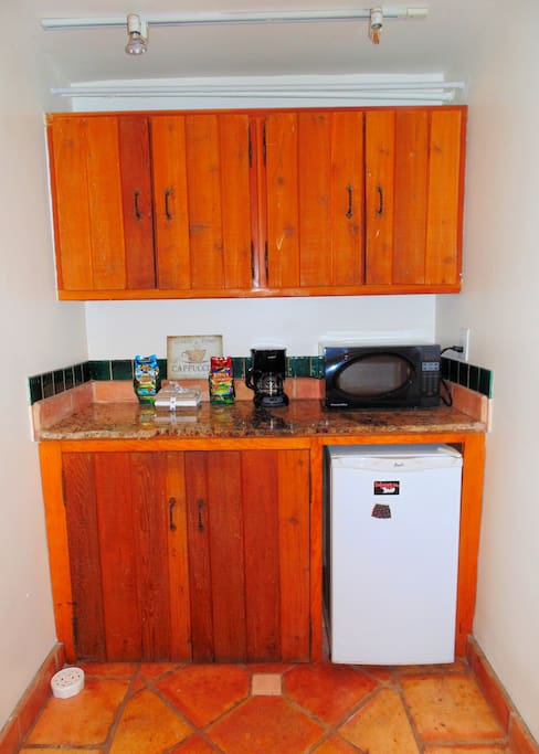 Kitchenette with Refridgerator, Microwave and Coffee Machine