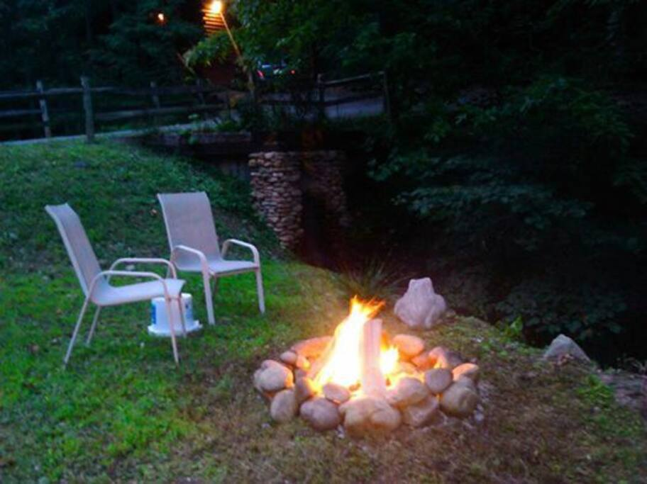 Fire Pit next to the Waterfall & Creek!