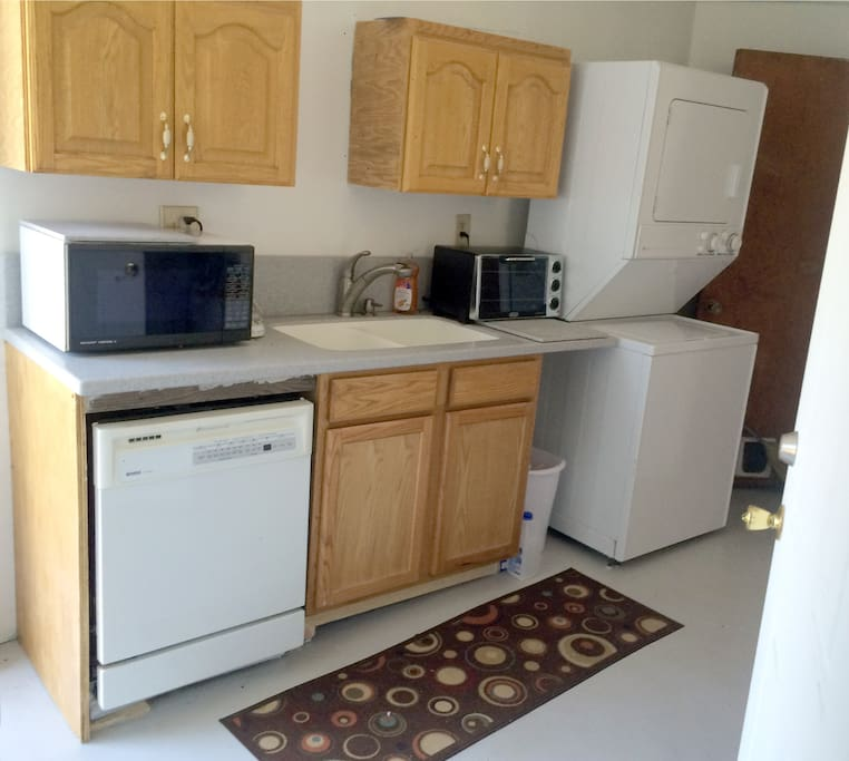 Shared Kitchen includes microwave, washer, dryer, stove, oven, toaster oven, and dishwasher.