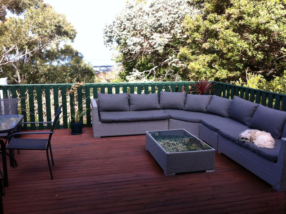 Huge sunny upper deck, great views and fire pit.