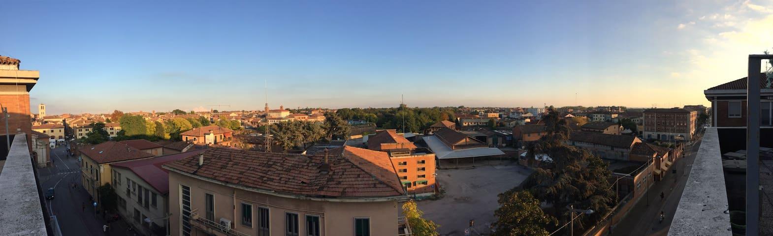 Vista dal terrazzo dello stabile