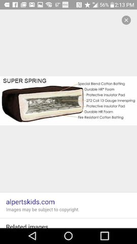 High end Futon w inner springs. Added 3 inch Foam topper in 2019 and new Mattress cover Oct2020! New sheets too!
