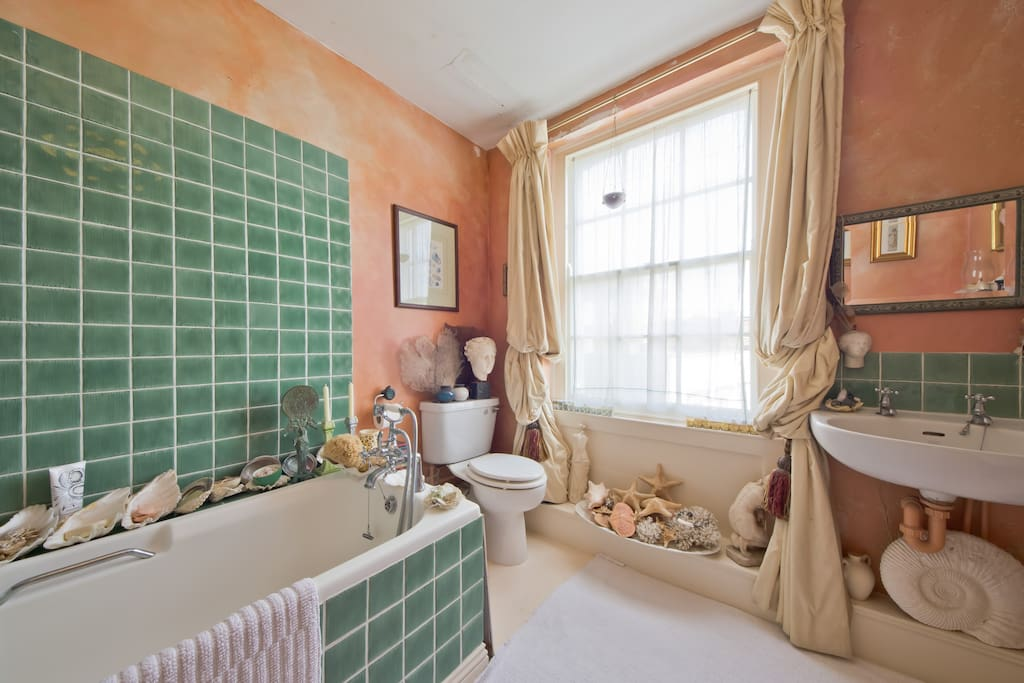 My little bathroom reminds people of being in an ancient Roman Villa.