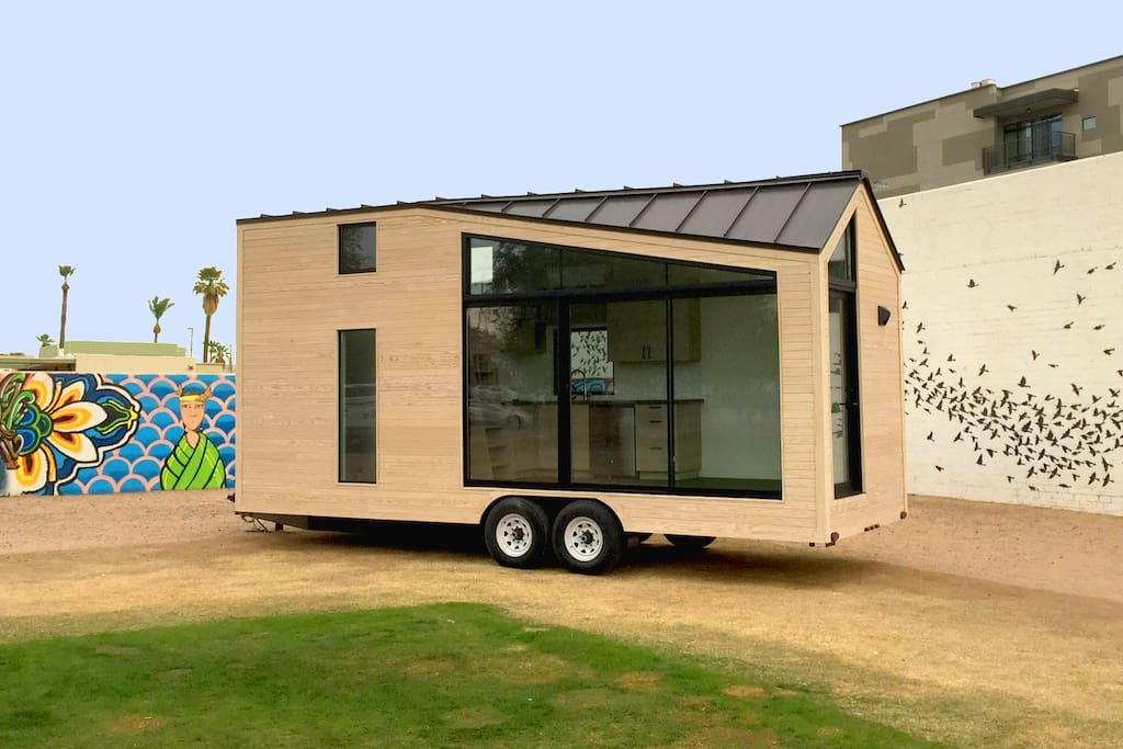 The Nest Phoenix Tiny House is pictured here for a photoshoot in downtown Phoenix outside of the Monorchid, an event space in the Roosevelt Row Arts District.