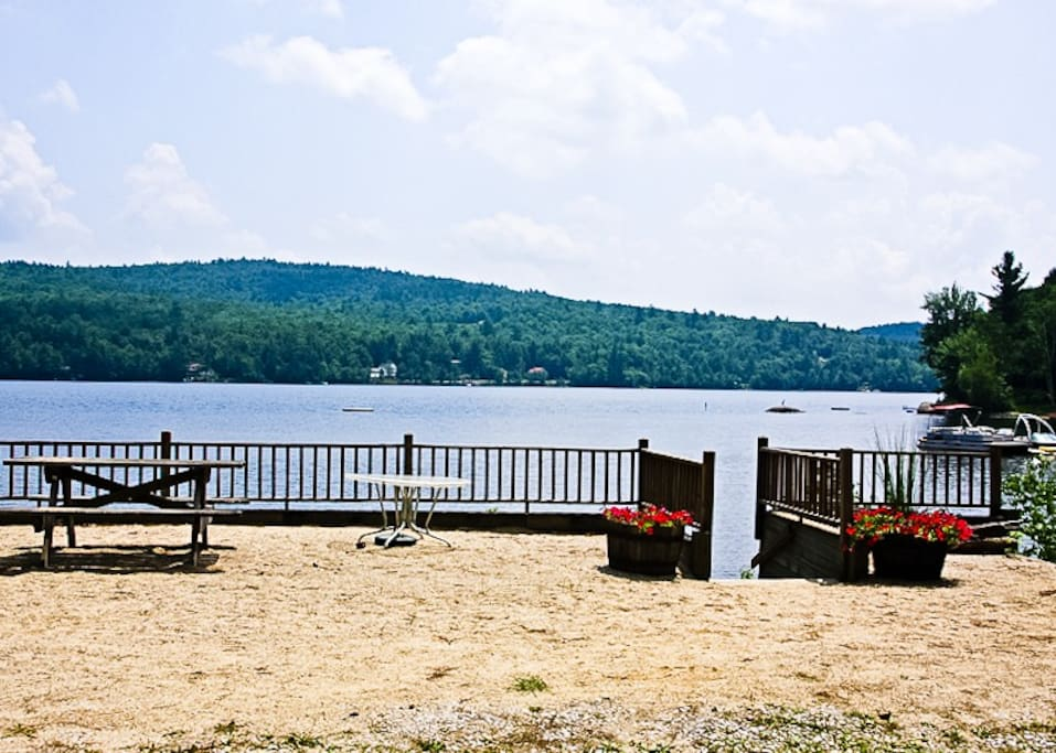 Lakefront sandy beach..