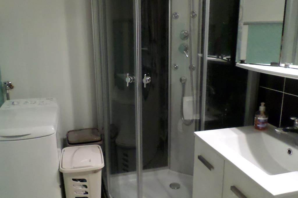 Salle de Bain: wc, lavabo, duche, lave linge.