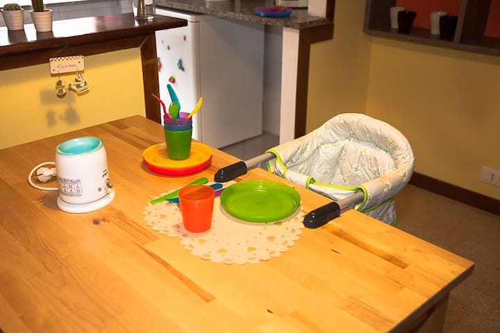 For families, upon request: highchair, bottle warmers, baby food cooker, children tableware
