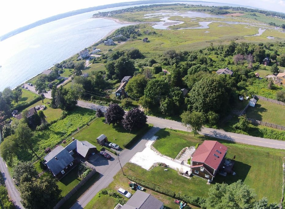 Wide Shot Aerial view with Narragansett Bay to the West and Almy's Creek to the North