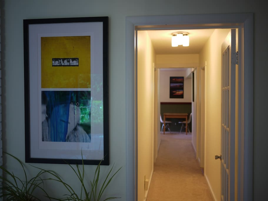 The entrance to the guest suite, a long hallway separates it from the rest of the house.