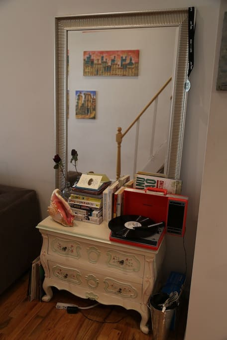 A reading, record-filled nook.