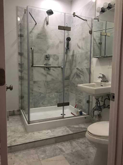 New bathroom and tall (two-person) shower