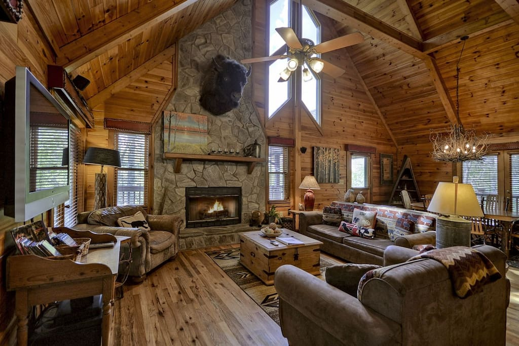 Living Room with a Gas-Log Fireplace
