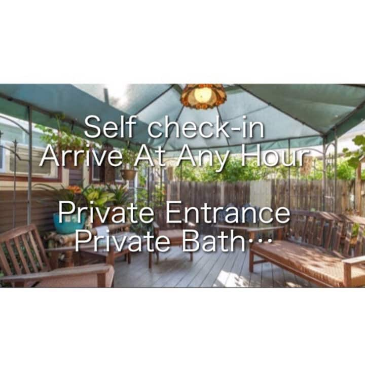 #7 self check in with private entrance and private bath in downtown
