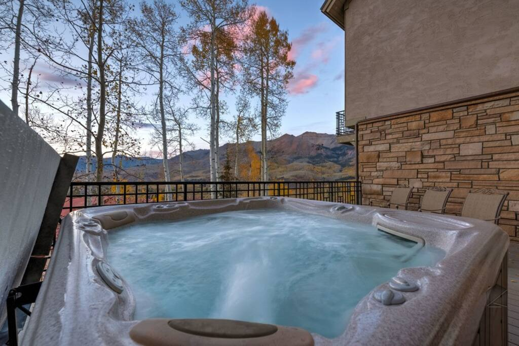 A second deck is host to a hot tub with similar breathtaking views.