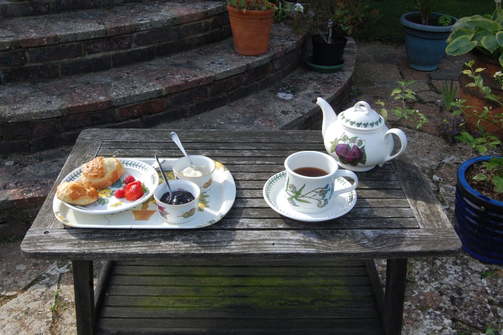 Afternoon CreamTea/Cake on the patio.