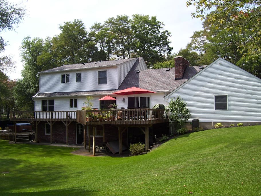 Large deck available, overlooking private yard.