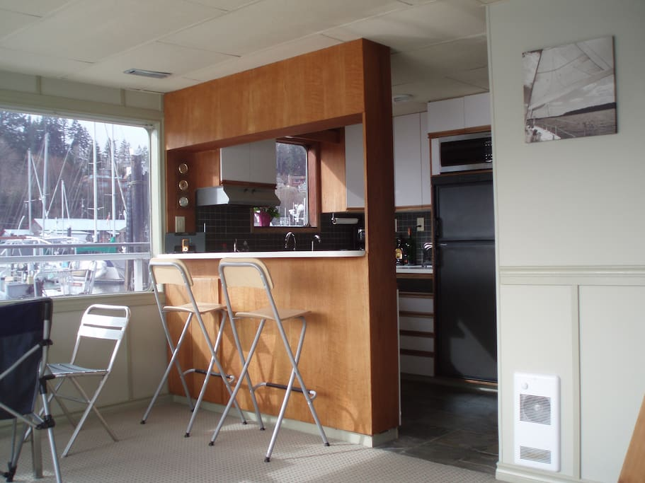 Your galley kitchen and dining area is a sailor's delight