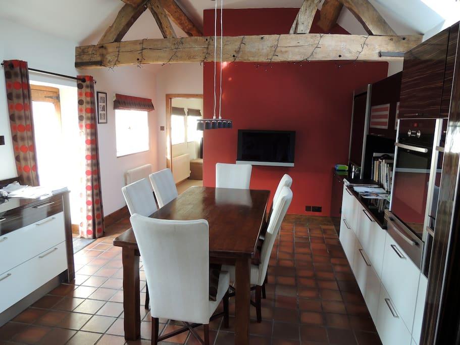 Modern, stylish kitchen in which to enjoy breakfast
