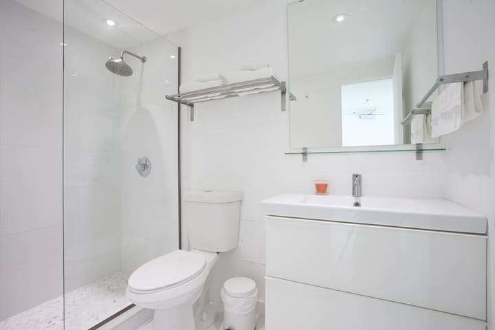 Brand new all white bathroom with Hansgrohe Shower