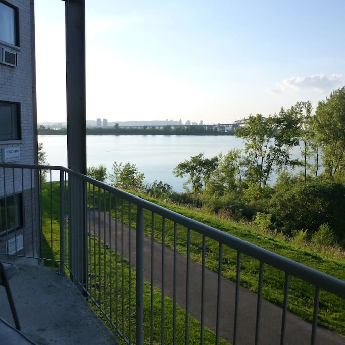 Balcony view of city and The Saint Lawrence River