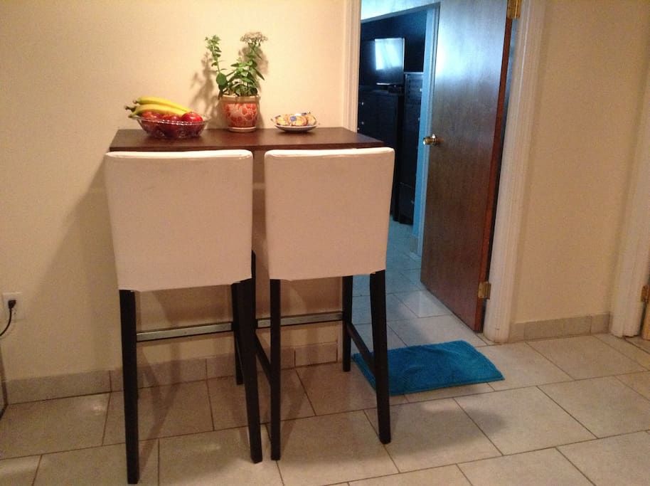 Mini folding wall table with stool chairs for dining