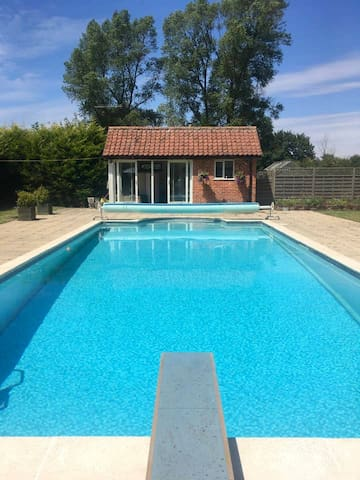 Pool and changing/ toilet facilities.