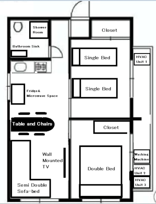 Hopefully this diagram helps you visualize the space better. The apartment is well fit for groups of up to 6 people (8 if you 2 people don't mind sleeping in futons).