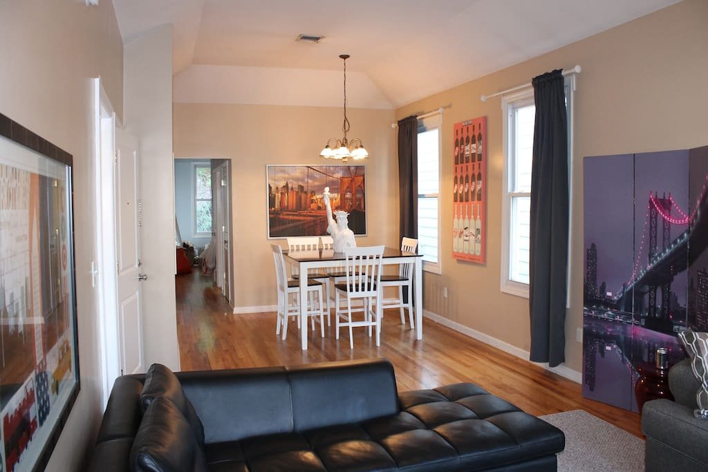 Large sunny 2nd floor apartment.  Open living room/dining room
