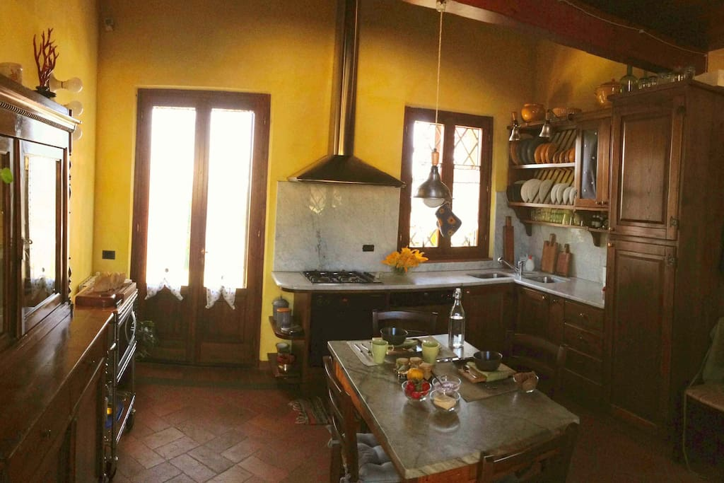 The kitchen is made available to the guests with a complete set of utensils