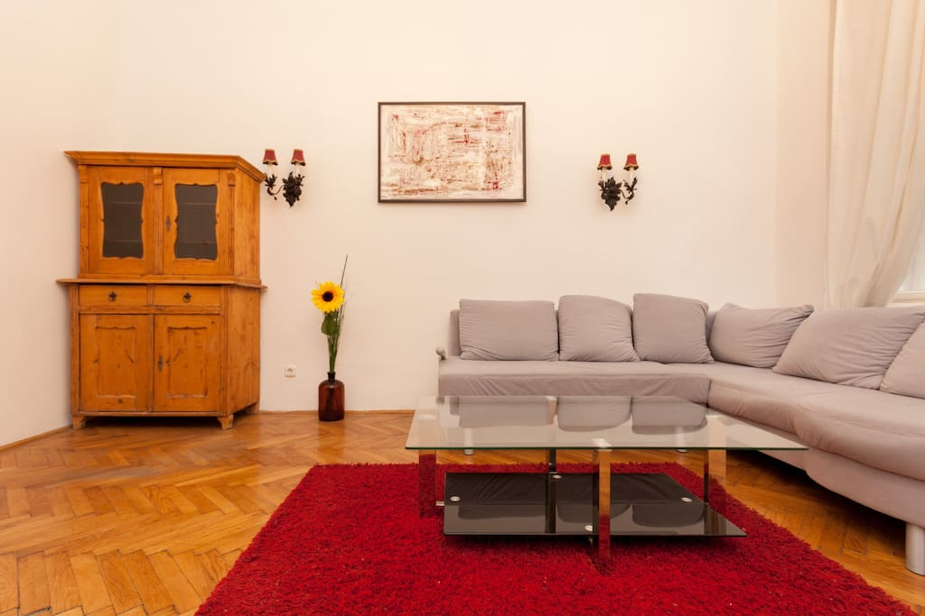 Andrássy Home Central Apartment living room with sofa-bed