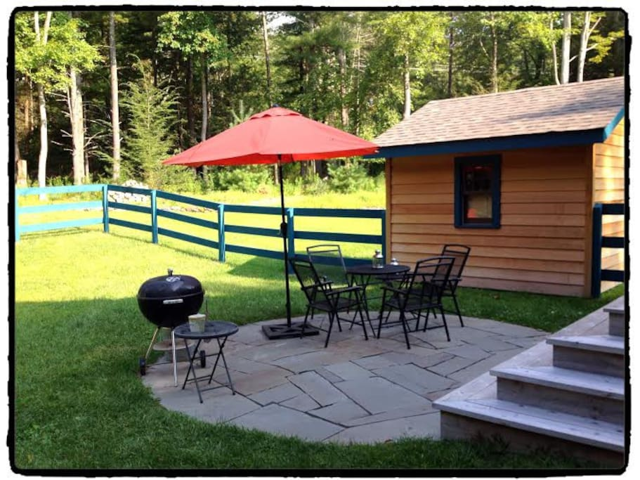 Private suite with your own patio & charcoal grill.