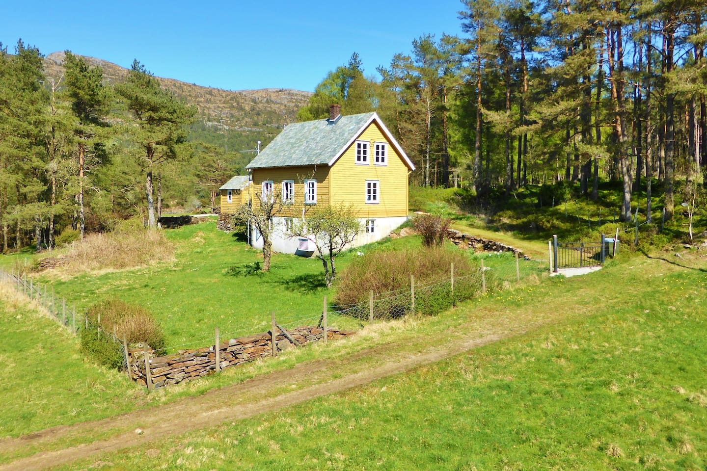 Alone in the woods. Large garden with lawn. Outdoor furniture, soccer and badminton equipment availlable. BBQ facilities.
