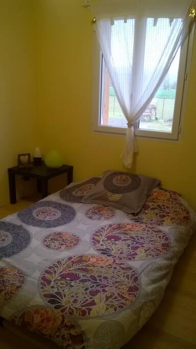 un lit de deux places, dans une chambre avec un placard et une commaode