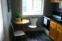 The seating area in the kitchen. A cozy spot for two.