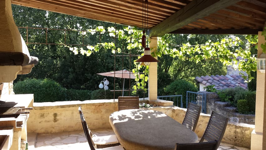 Village stone cottage 11p with swimming pool - Saint-Siffret
