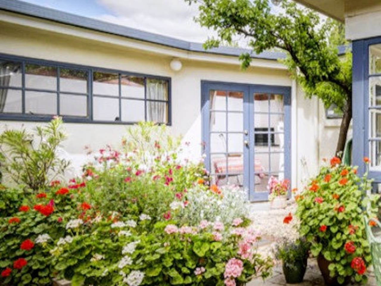 The studio is private and in the rear courtyard away from the road.