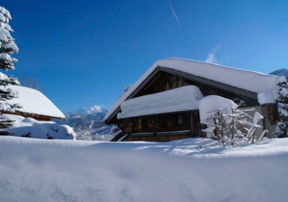 Vue globale du chalet avec le Mont-Blanc en arrière plan