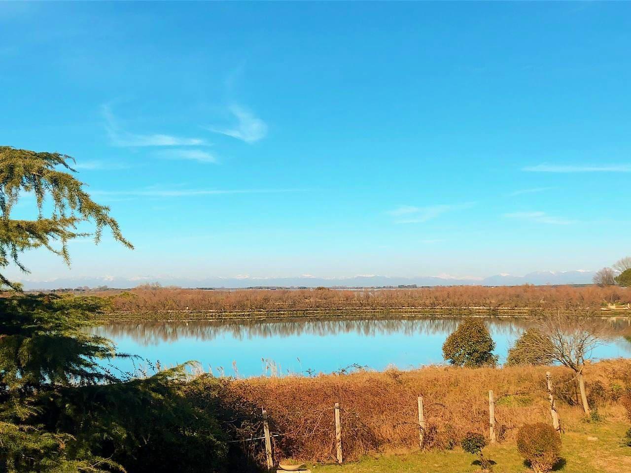 La splendida vista sulla laguna, dal terrazzo di casa.