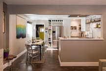 The brand new kitchen has seating for six, modern appliances, and plenty of room to prepare food.